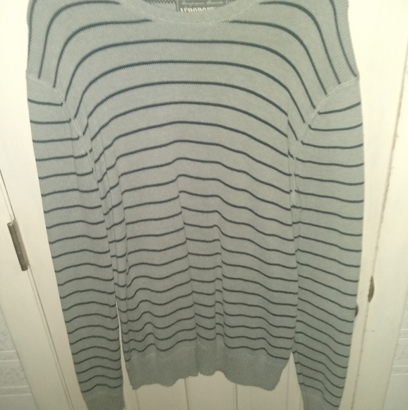 Aeropostale Grey and Blue Striped Sweater -Large